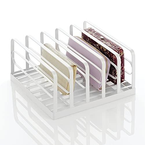 mDesign Expositor de plástico para bolsos de mano – Prácticos soportes para carteras, monederos, billeteros, etc. – Organizador de bolsos con 5 ranuras – blanco mate