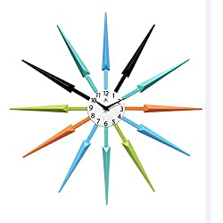 Infinity Instruments Midcentury Multicolored Wall Clock, 24.5x 24.5x 1.75