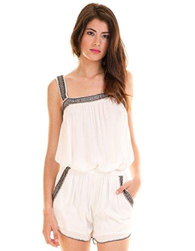 Vila Clothes Damen VILOMANO GV Shorts, Weiß (Cloud Dancer Detail:Embroidery W. Black/Orange), 38 (Herstellergröße: M)