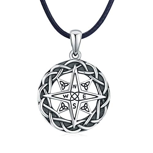 Compass Necklace Celtic Knot Necklace Graduation Friendship Talisman Travel Necklace Oxidized Sterling Silver Compass Jewelry Pendant for Men Women Father's Day Gift (Black leather rope)