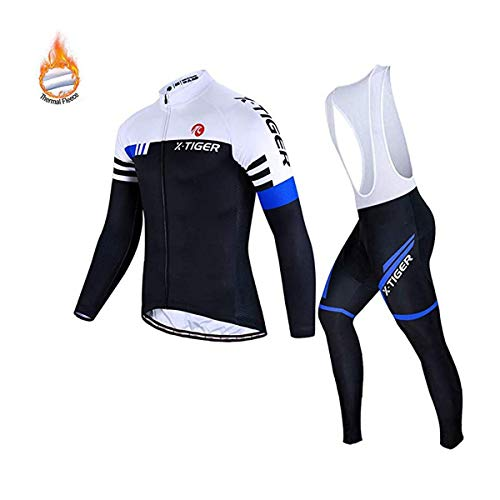 X-TIGER Herren Langarm Radsportanzüge Set Radtrikot mit 5D Gel gepolsterten Trägerhosen (Size XXXL=EU XXL, Blue and White Winter Thermal Fleece Bib Set)