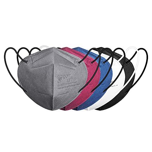 IDOIT 20PCS Mascherine FFP2 Colorate Certificate CE Maschera filtrante 5 Strati Mascherine monouso sigillate singolarmente(20PCS in 5 colori bianco,nero,grigio,blu,rossoviolaceo)