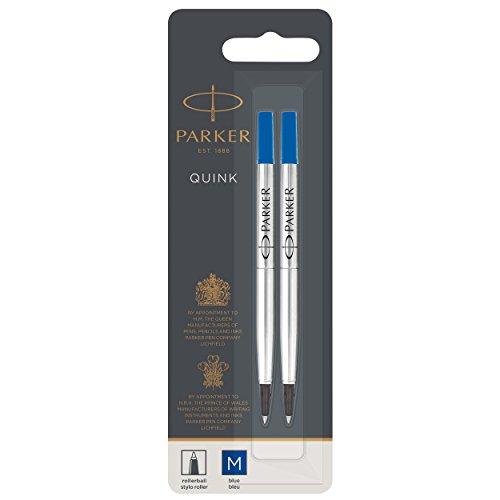 Parker 1950327 - Recambio para bolígrafo roller de punta mediana, azul, paquete de 2