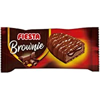 FIESTA Brownies Bizcocho recubierto de chocolate con leche y relleno de crema de cacao - Caja de 24 unidades