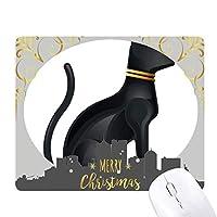 古代エジプトの抽象的な黒猫のパターン クリスマスイブのゴムマウスパッド