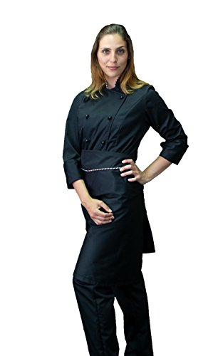 tessile astorino Bordado gratuito – Conjunto de cocinero de cocina – Negro y Tricolor – Uniforme Chef Mujer – Pantalón, chaqueta y delantal – Fabricado en Italia Negro E Tricolor Mujer XXX-Large