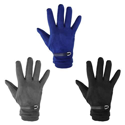 Tutoy 3 Couleurs Cuir Boucle Daim Écran Tactile Gants Windproof Protection Contre Le Froid Chaud Gant Thermique - Noir