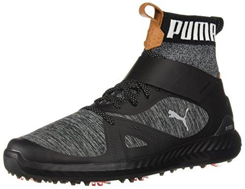 PUMA Golf Men's Ignite Pwradapt Hi-Top Golf Shoe, Black/Silver, 9 Medium US