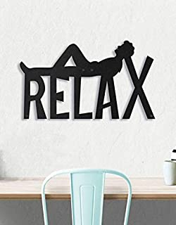 300Sparkles Relax Cutout for Home Decor Wall Hanging Room Decor Art & Crafts Work Gift for Friends BLACK/14 X 8 INCH