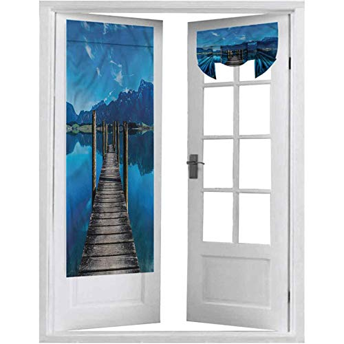Room Darkening French Door Curtains, Seascape,Wooden Pier Serene Lake, 1 Panel-26' X 68' Window Curtains for Bedroom