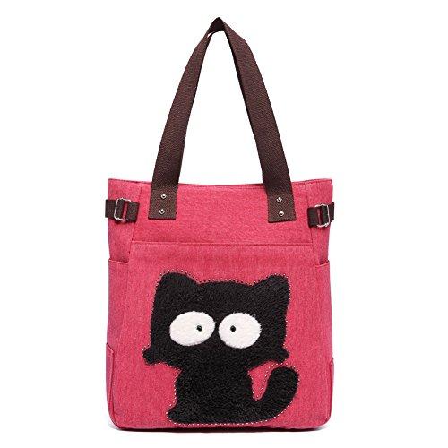 Bolso de Hombro de Las Mujeres con el Bolso de Compras Lindo del Ocio de la Lona del Gato por KAUKKO (Rojo)