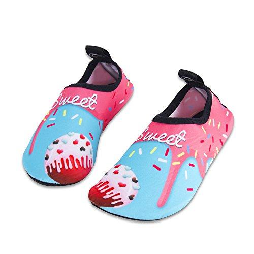 HMIYA Kinder Badeschuhe Wasserschuhe Strandschuhe Schwimmschuhe Aquaschuhe Surfschuhe Barfuss Schuh für Jungen Mädchen Kleinkind Beach Pool(Rosa Bjl,28/29)