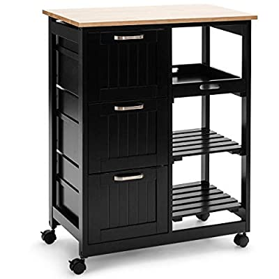 Giantex Kitchen Trolley Cart 2 Tier W/ 3 Large Drawers and Storage Shelf Rolling Storage Cabinet Island Cart by Giantex