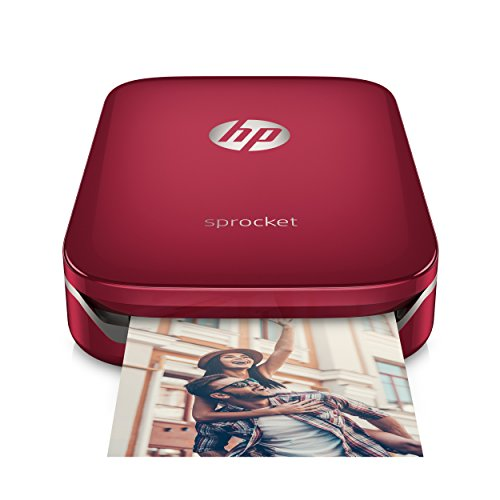 HP Sprocket Mobiler Fotodrucker (Drucken ohne Tinte, Bluetooth, 5 x 7,6 cm Ausdrucke) rot