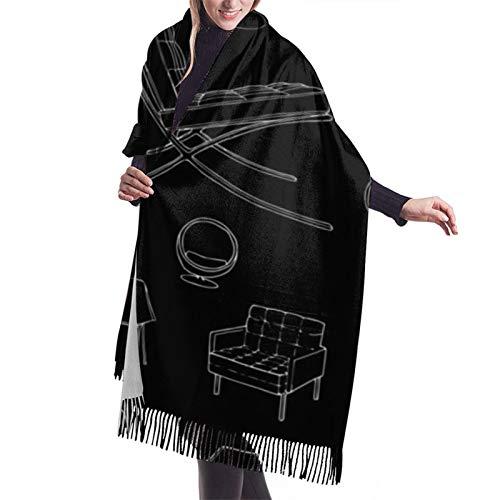 Bufanda de otoño invierno para mujer de mediados de siglo Sillas de diseñador Muebles Clásico Bufanda cálida suave manta grande abrigo chal bufandas