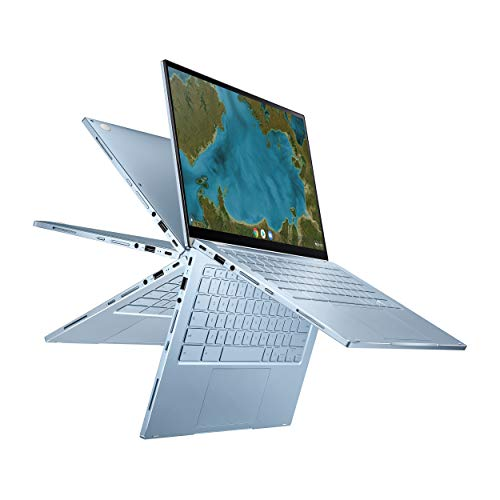 "ASUS Chromebook Flip C433 2 in 1 Laptop, 14"" Touchscreen FHD NanoEdge Display, Intel Core m3-8100Y Processor, 8GB RAM, 64GB eMMC Storage, Backlit Keyboard, Silver, Chrome OS, C433TA-AS384T"