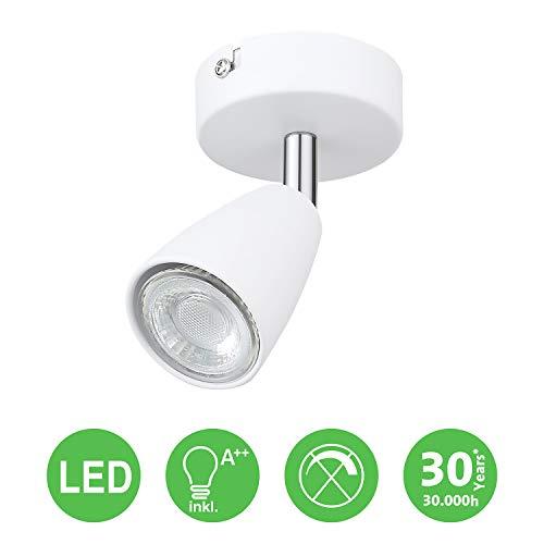 IMPTS LED Deckenleuchte 1 Flammig Weiss, inkl. 1 x 3W Leuchtmittel GU10 LED, 250LM,230V, IP20,Warmweiß,Schwenkbar, LED Deckenlampe Deckenspot Deckenstrahler Spotleuchte