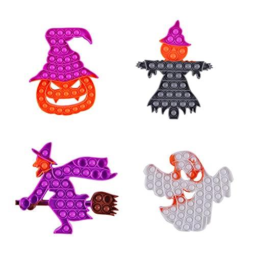 spier juguetes de silicona, 4PCS Rainbow Pumpkin Ghost Push Bubble Sensory Toy de Halloween de Silicona de Descompresión de Juguete de Extrusión de Burbuja de Juguete para Adultos Niños