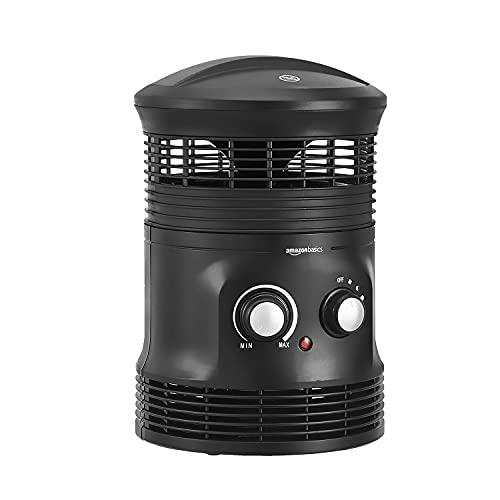 Amazon Basics, Termoventilatore portatile 360° Surround a 2 velocità, con termostato, 1800 W