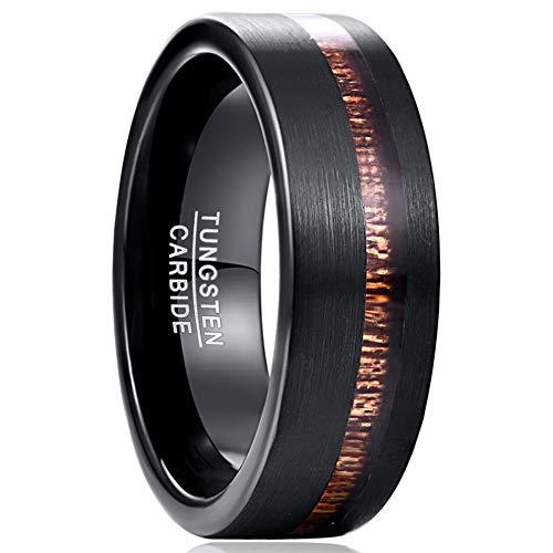 Vakki Herren/Damen Ring Schwarz aus Wolfram und Hawaiian Holz 8mm Ehering Verlobungsring Komfort Fit Größe 54(17.2)