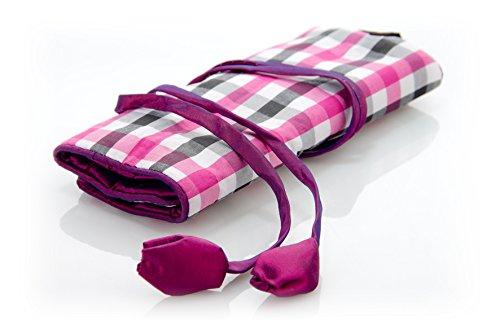multiCASE Schmuckrolle Kosmetikrolle Reisetasche rosa-weiß-schwarz kariert mit Innenfächern