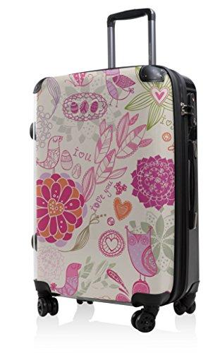 HAUPTSTADTKOFFER - Style Hartschalenkoffer Koffer Trolley Reisekoffer Reisegepäck, individuell gestalten, Geschenkidee, Design: I Love Muster Rosa