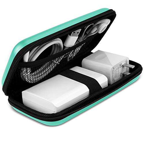 iMangoo Shockproof Carrying Case Hard Protective EVA Case Impact Resistant Travel 12000mAh Bank Pouch Bag USB Cable Organizer Earbuds Sleeve Pocket Accessory Smooth Coating Zipper Wallet Mint