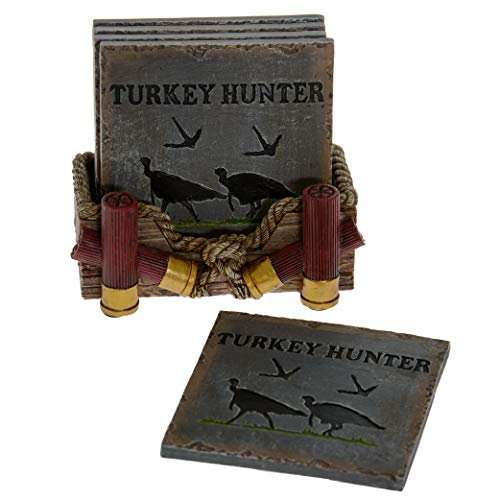 Pine Ridge Buckshot Absorbent Coaster Set with Holder - Table Coasters Home Decors for Drinks - Rustic Turkey Hunter Country Coaster Decoration