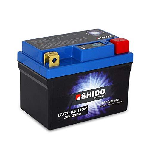 Batería 12 V 2,4 Ah (6 Ah) YTX7L-BS de iones de litio Shido 50614 RS4 125 (J.Juan freno) TW 11-16