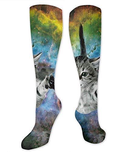 NA Calcetines deportivos de tubo largo para hombre y mujer, diseño de la bandera de Uruguay, Mujer, Universo Space Galaxy Cat, 19.7 inch