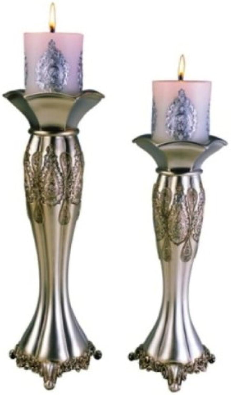 ORE International K-4199C Traditional Royal Candle Holder Set, Metallic Silver