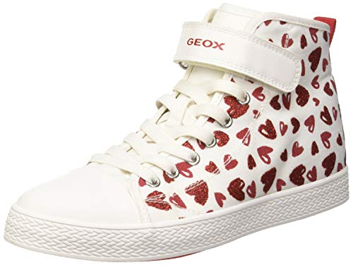 Geox Jr Ciak Girl a, Zapatillas Altas para Niñas, Blanco (White/Red C0050), 34 EU