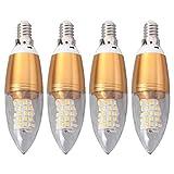 OSALADI 4PCS / Set E14 85-265V 12W LED Bombillas de Vela Luz Variable Electroforesis de Plata Bombillas de luz Blanca