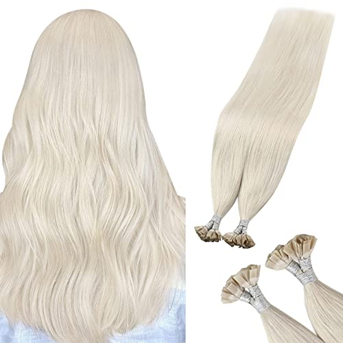Sunny Flat Tip Hair Extensions Blonde Fusion #60 U Tip Platinum Blonde Hair Extensions Pre Bonded Hair Extensions Remy Human Hair 50g/50s 20inch