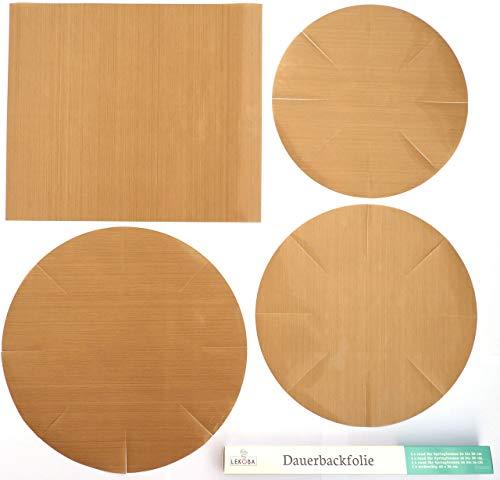 LEKOBA Dauerbackfolie (4er Set), Backpapier wiederverwendbar, rund für die Springformen 26 bis 28 cm, 18 bis 20 cm und 14 bis 16 cm