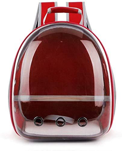 longsheng Haustier-Transporttasche für Papageien, Reisekapsel, atmungsaktiv, 360° Sightseeing, Rot