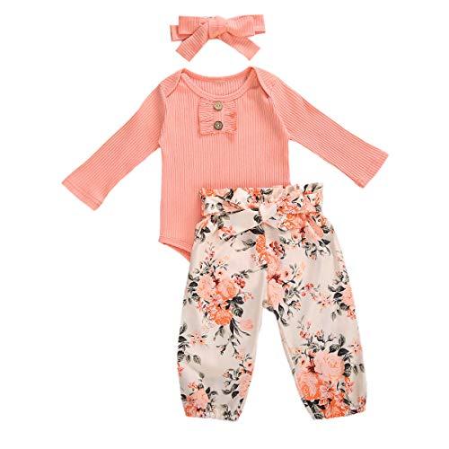 YQYJA Baby-Kleidung, neugeborenes Mädchen, kleine Schwester, lange Ärmel, Blumenmuster, Strampler, Hosen, Leggings, Stirnband, Outfits, X Pink, 68