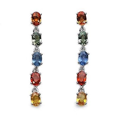Joyería-Schmidt-Pendientes/auriculares/con 10 Zafiros-925 colgantes de plata-rhodiniert-4.90 carat