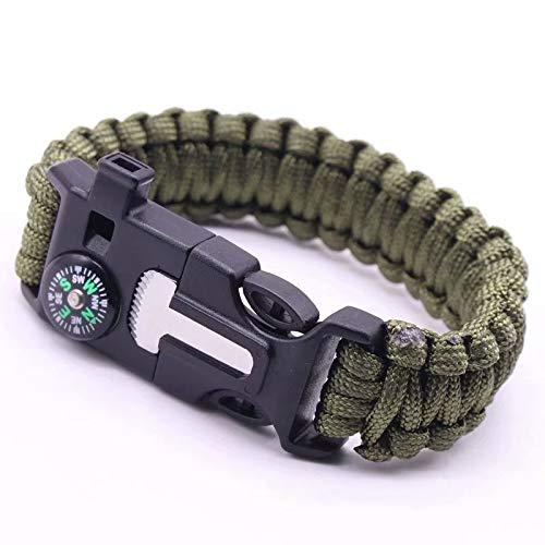 Survie en Plein air Multi Fonctionnel EDC Tactique Parachute Survie Corde Aiguille Bracelet Lot de Aiguille bracelets de survie paracorde avec sifflet grattoir et allumettes pour extérieur(Green)