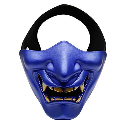 XDLH Halloween Lachen Prajnä Tactical Maske, COS Teufel Horror Grimasse Halbe Gesichtsmaske Für Männer Und Frauen Erwachsene, Abendkleid-Partei Geeignet Für Erwachsene Und Kinder,Blau