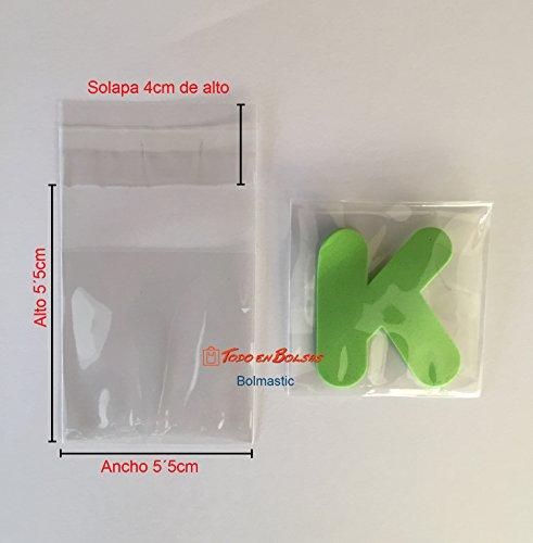 Bolsa Polipropileno con Solapa Adhesiva de 5,5 x 5,5 cm (100 Unidades)