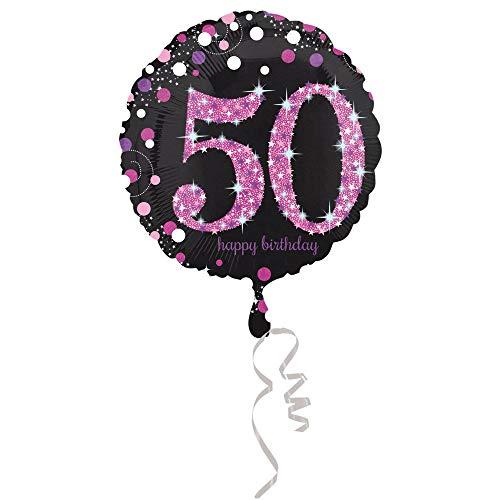 amscan 3378701 Folienballon 50.Geburtstag Celebration, Pink, Schwarz