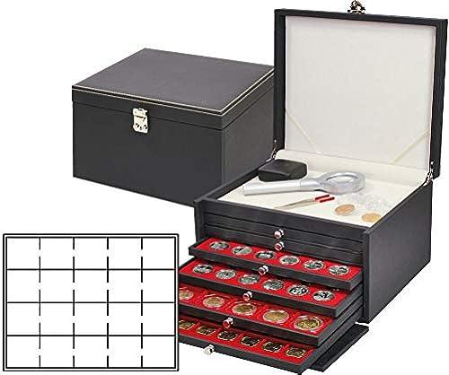 LINDNER Das Original NERA Münzkabinett mit 6 Münzschubladen und hellroten Münzeinlagen für 120 Münzr chen 50x50 mm Münzkapseln CARRéE OCTO Münzkapseln
