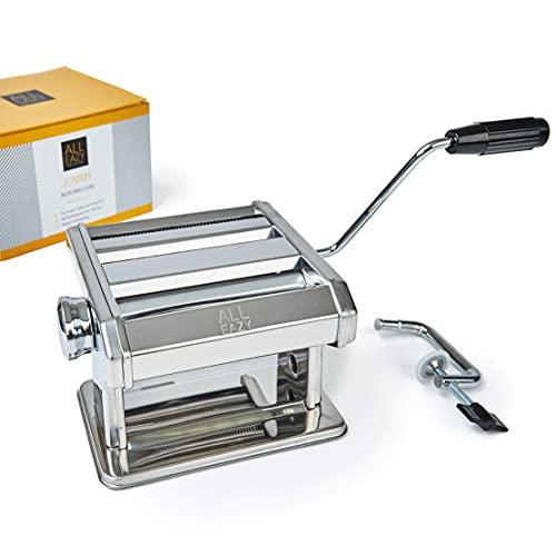 ALL EAZY HOME & KITCHEN Nudelmaschine manuell aus Edelstahl • Pasta Maker 3-in-1 für Nudeln und Teigplatten • Einfache Reinigung