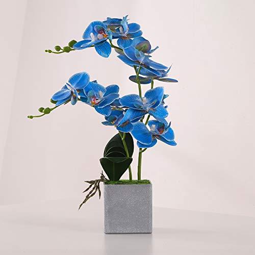 ENCOFT Kunstblumen orchideen Kunstpflanze Künstliche Blumen aus Eva Wohndeko Kunstbulme mit Übertopf Garten Balkon Wohnzimmer Hochzeit (36cm, Blau)
