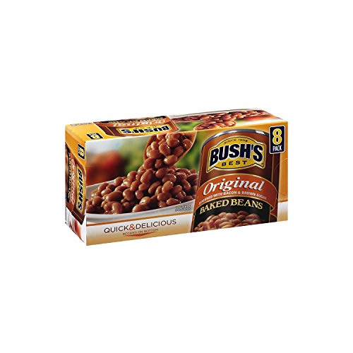 Bush's Best Original Baked Beans | Seasoned With Bacon & Brown Sugar Quick Delicious Gluten Free Baked Canned Beans - 8 x 16.5 oz