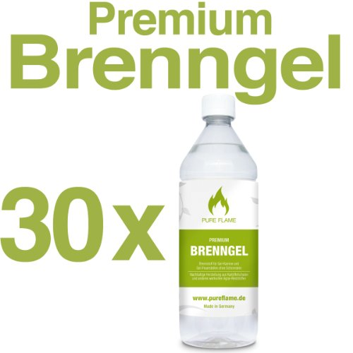 30 x 1L Brenngel für Gel Kamine & Gel Feuerstellen - Hergestellt aus TÜV-geprüften Premium Bio-Ethanol 96,6% Vol. - 30 Liter in 1L Flaschen zum handlichen & sicheren Gebrauch - Made in Germany!!!