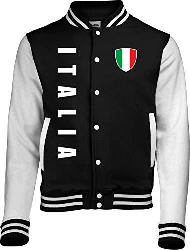 Aprom-Sports Italien College Jacke - EM WM Sweat Sport Trikot Look (L, Schwarz)