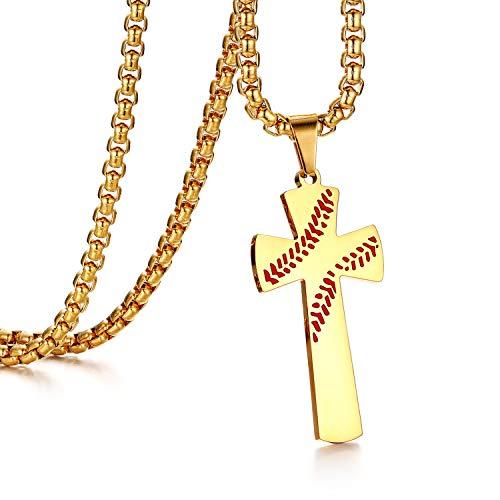 Flongo Herren-Kette Männer Anhänger, Baseball Edelstahl Anhänger Halskette mit Bibel Gravur Gold Kreuz Rosenkranz Jahrgang Poliert Herren-Accessoires