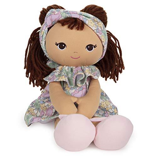 "GUND Baby Toddler Doll Plush Brunette, Green Garden Dress, 8"""